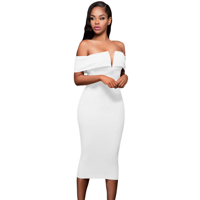Autumn Solid Color Tight Sexy Formal Evening Off-The-Shoulder Midi Dress For Women