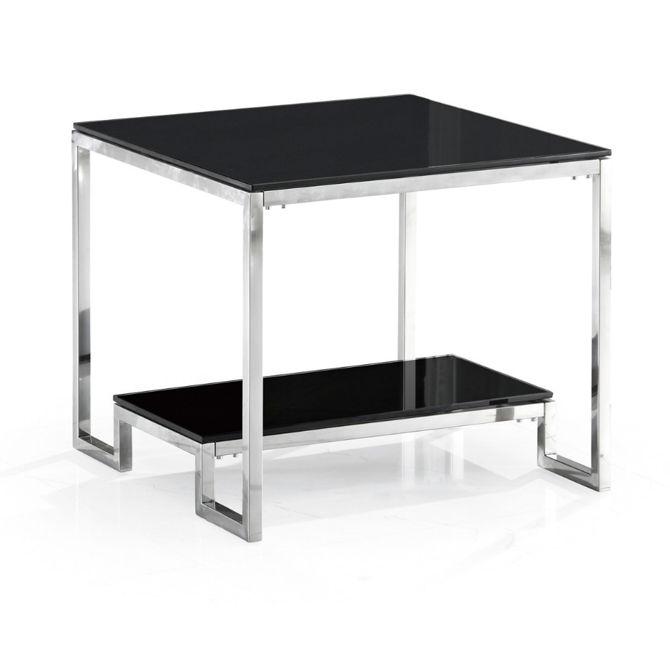 Round Side Corner Bent Glass Coffee Table With Beveled Edge