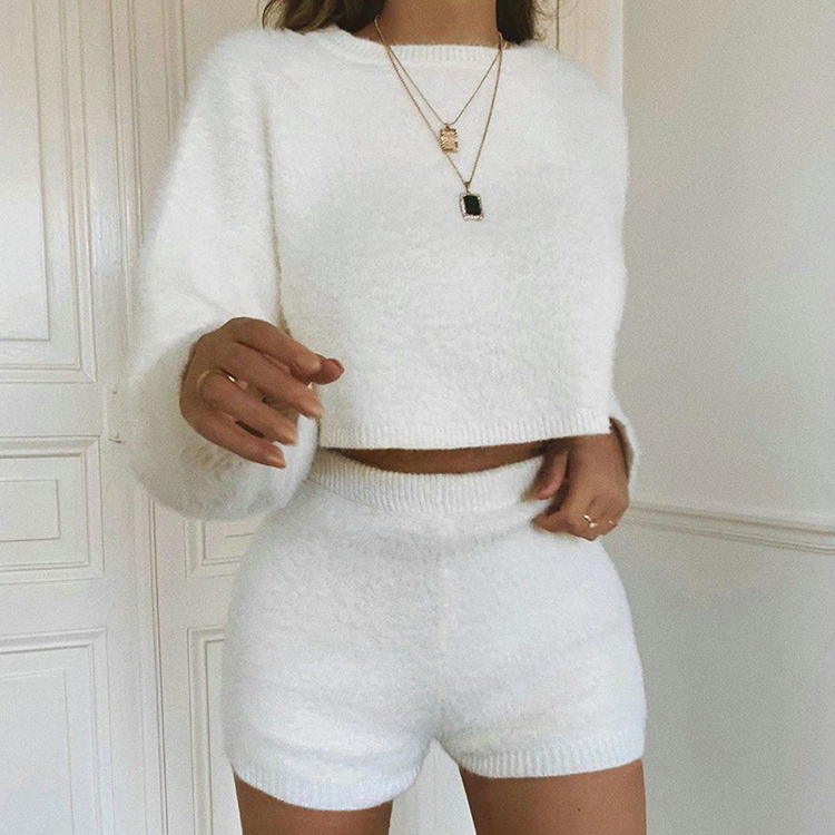 Long Sleeve White Two Piece Short Outfits Sets Fall 2019 Womens Fashion