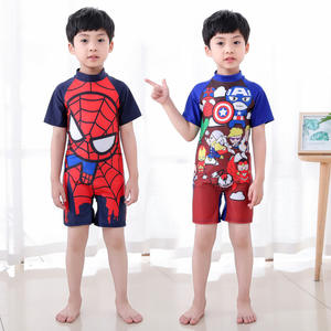 Custom Anime Super Hero Cartoon Printing Cute Little Kids Baby Boys Beach One Piece Swimsuit Swimwear For Children