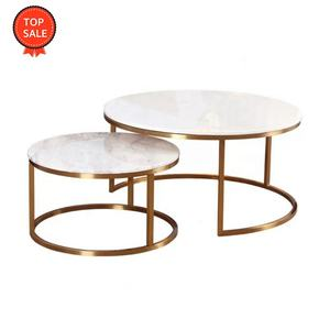 Modern white marble top stainless steel black metal nesting round coffee table