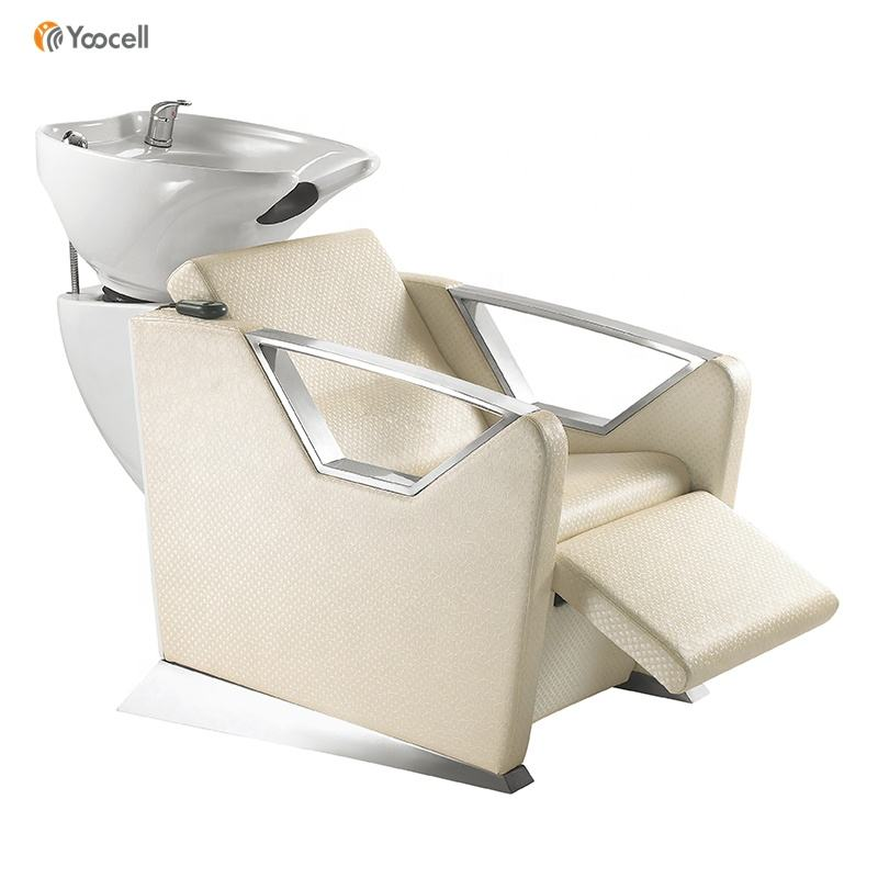 Yoocell High Quality Hair Spa Beauty Hair Salon Shampoo Beds Backwash Chairs Ceramic Wash bowl
