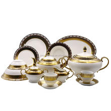 Wholesale 47 pcs 49 pcs 72 pcs Ceramic Bone china Elegance Fine Porcelain Pakistani Dinner Set Gold Plated