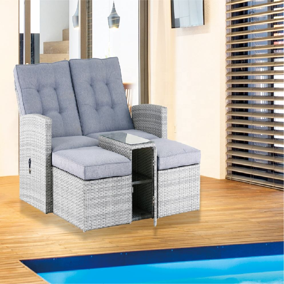 China supplier home furniture double and single rattan wicker sofa dining sets