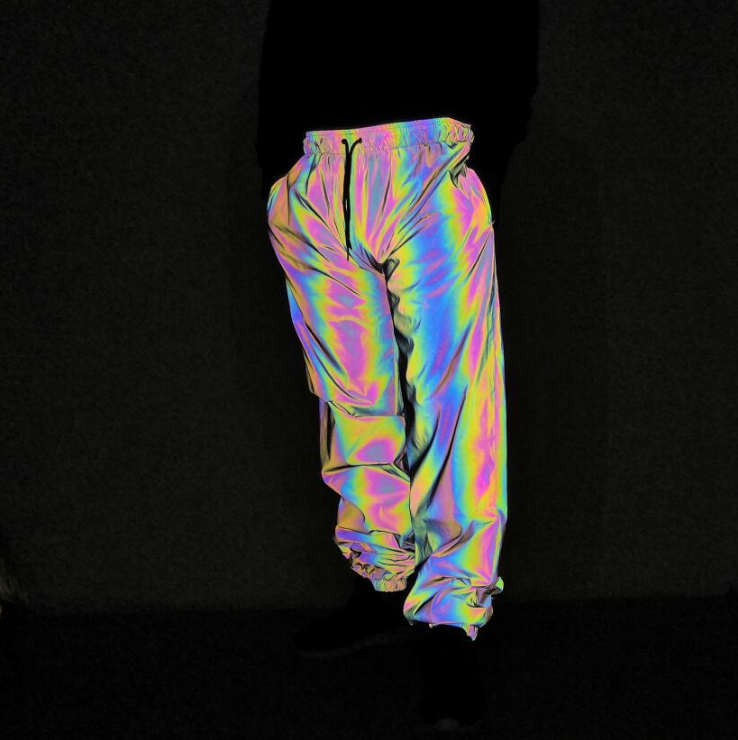 trend fashion unisex hip hop casual streetwear jogger track rainbow color change iridescent reflective drawing trousers pants