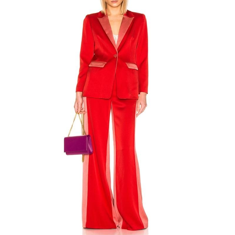 OEM Color Block Satin One Button Blazer With Wide Leg Pants Two Piece Women Suit Set