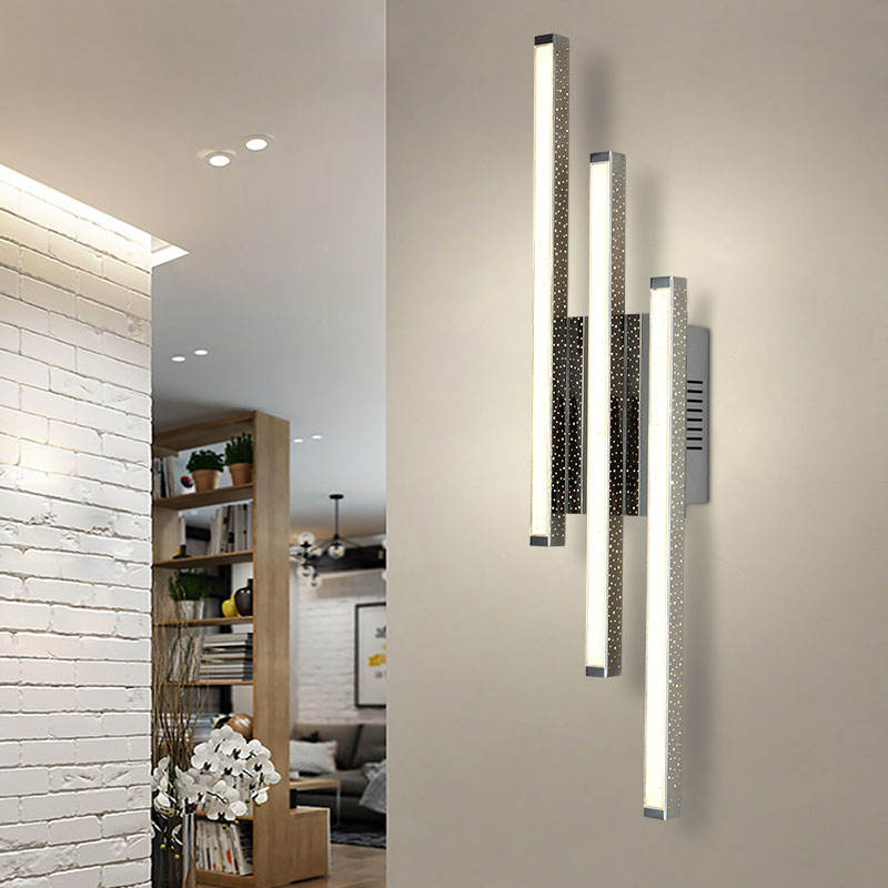Super Bright Modern Long Square 16W LED Wall light Bedroom Chrome Finish wall sconce Acrylic LED Wall Lamp For Hotel