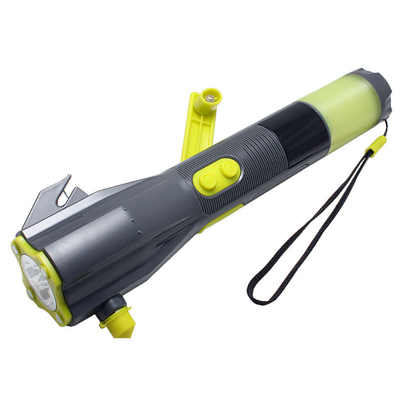 Multi-functional emergency light rechargeable safety hammer with alarm hand crank torch led flashlight