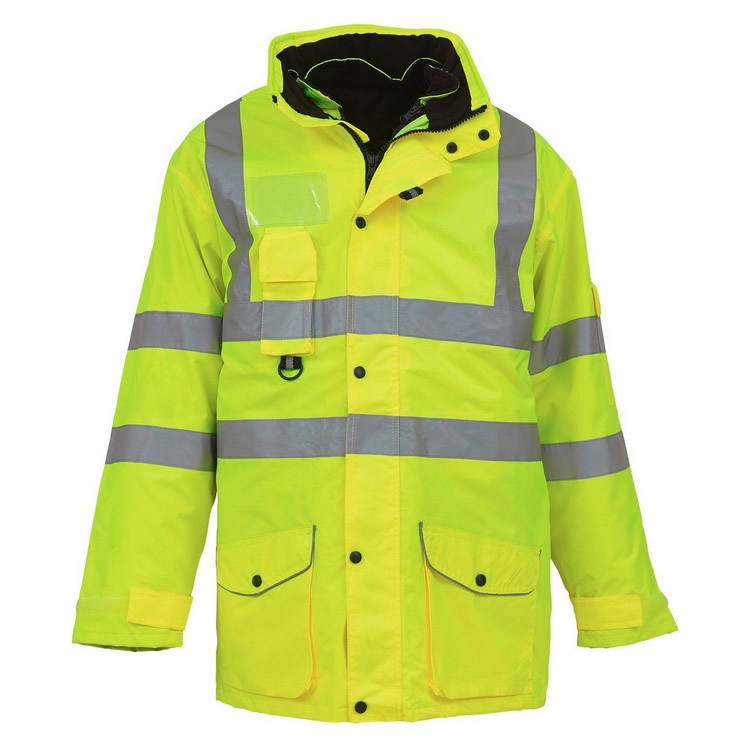 High Visibility Yellow Heavy Duty Road Way Traffic Anti Cold Detachable Inner 3 In 1 Hi Vis Winter Reflective Safety Jacket