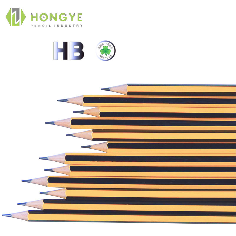 Wholesale Hexagonal Yellow Standard Stripped HB Pencil With Eraser Can Be Customized For Students Lead Pencil