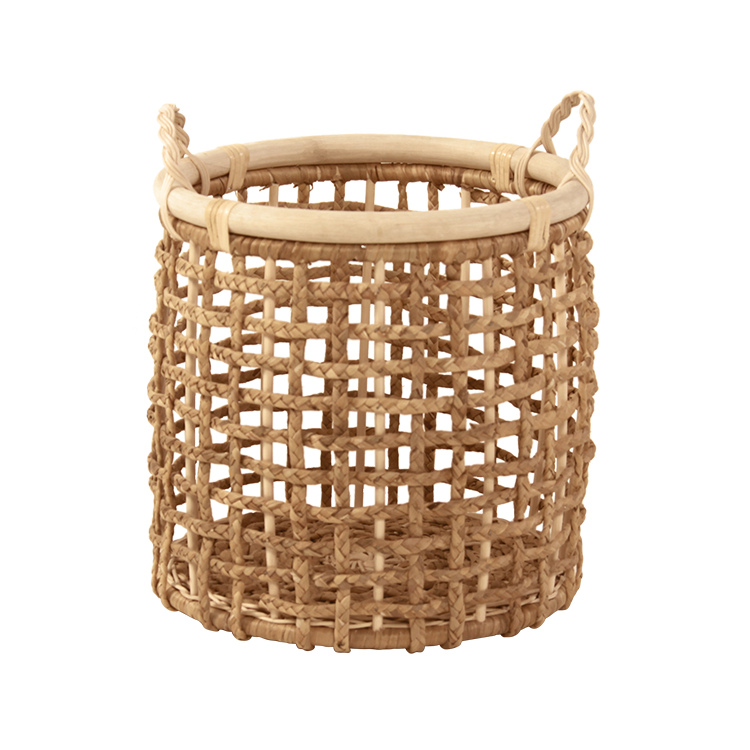 Best buy 2020 Rustic Design Water Hyacinth Wicker Round Hamper with Handles Laundry Basket