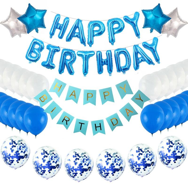 happy birthday yard sign Happy Birthday Bunting Banner Happy birthday Blue Letters Balloons Star Foil Balloons
