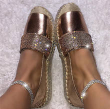 2020  Fashion European Espadrilles  Rhinestone Platform Shoes Woman  Creepers Flats Crystal Ladies Loafers