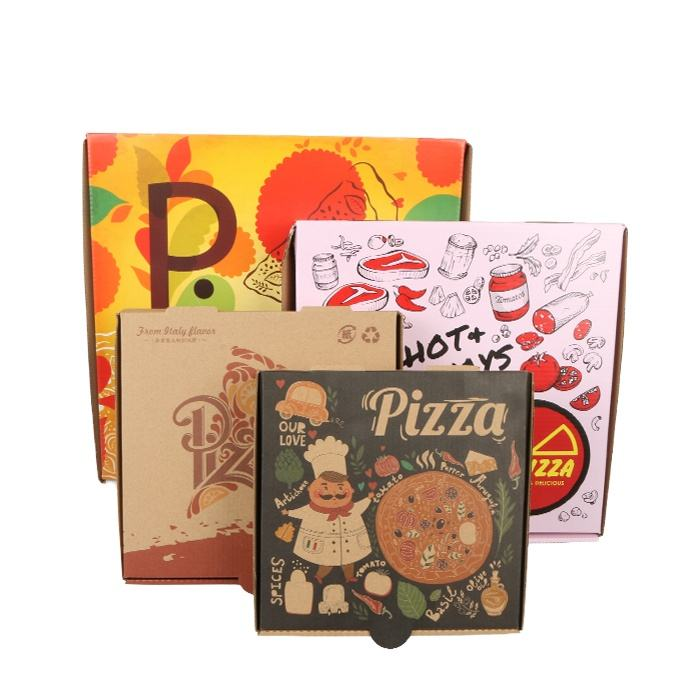 High Quality custom Logo Paper pizza box custom printed Corrugated Pizza Box with colorful printing china factory