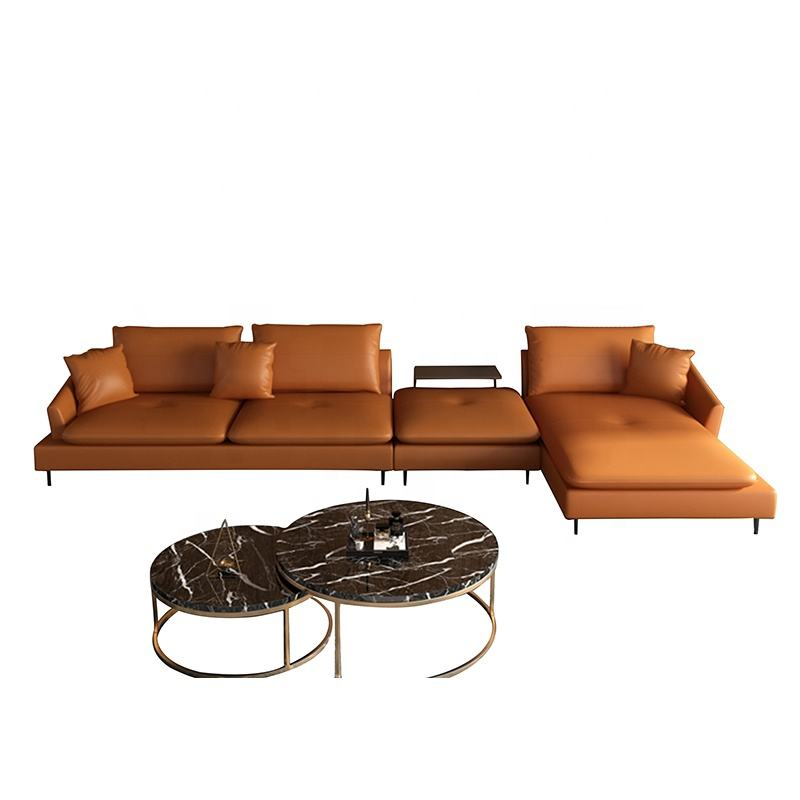 New Promotion American Living Room Home Leisure Genuine Leather Sectional L Shape Sofa Furniture Set