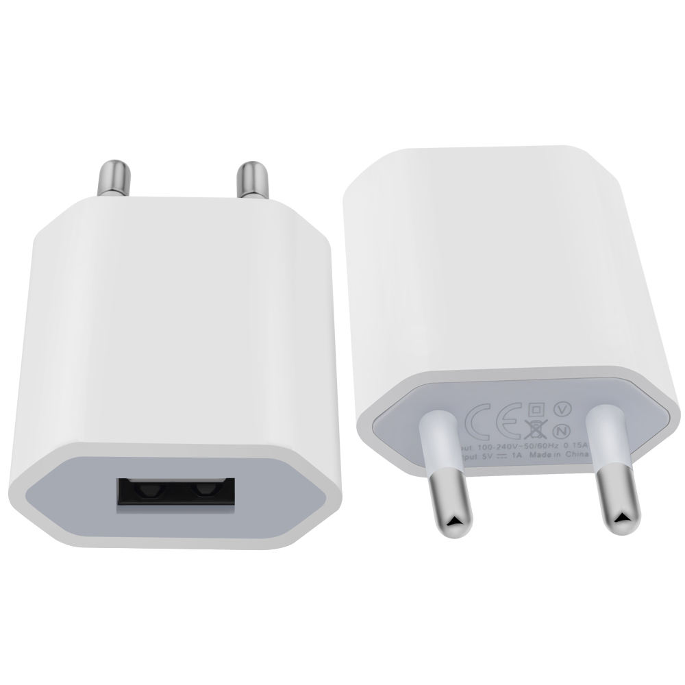 Single Port USB Phone Charger 5V 1A Mobile Phone Charger EU Plug Mobile Phone Charger White