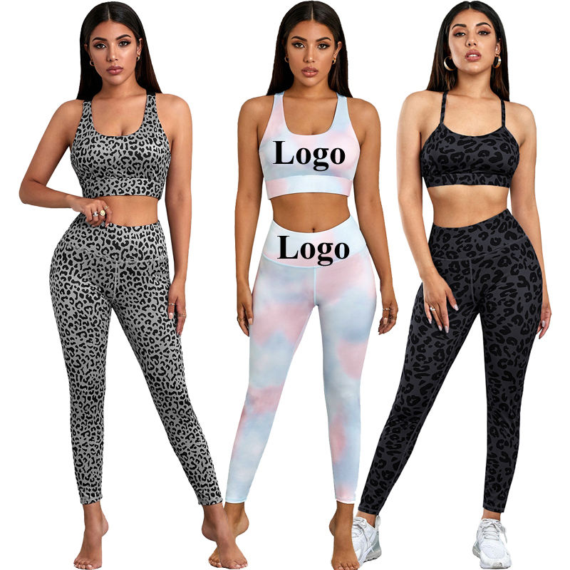 Custom Logo Sexy Leopard Tie Dye Sports Wear Fitness Gym Yoga Set Women Workout Clothing