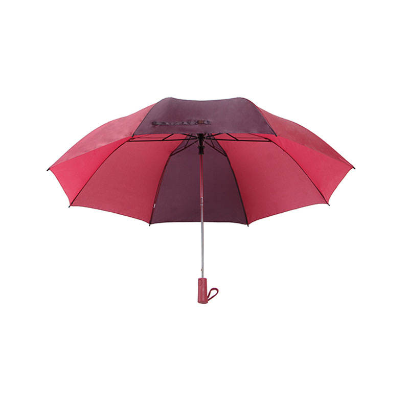 Dual Fold Umbrella [ 2 Umbrella ] Umbrella 2 Folding Umbrella High Quality Dark Red And Light Red Alternating 2 Folded Auto Golf Umbrella
