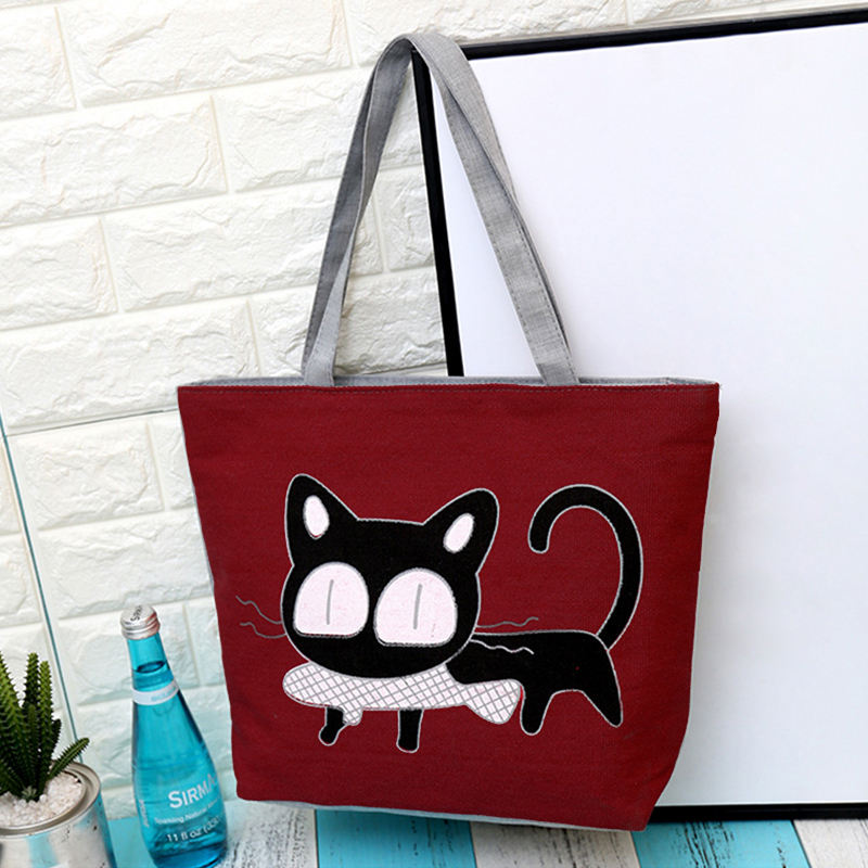여성 Canvas Shopping Bag Eco Foldable Cat Printing Tote Pouch 접는 Women 캐주얼 (High) 저 (용량 Shoulder Bag