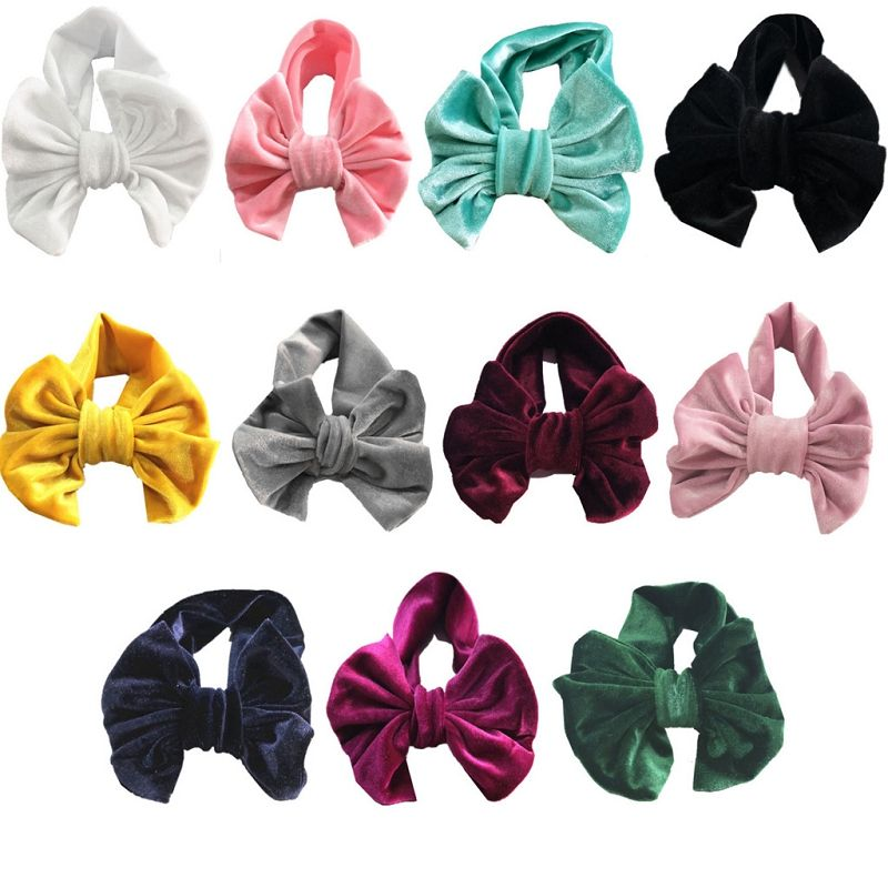 Girls Gold velvet Bow headbands kids bowknot Princess Hair band children Boutique Hair Accessories 11 colors Bandanas M292