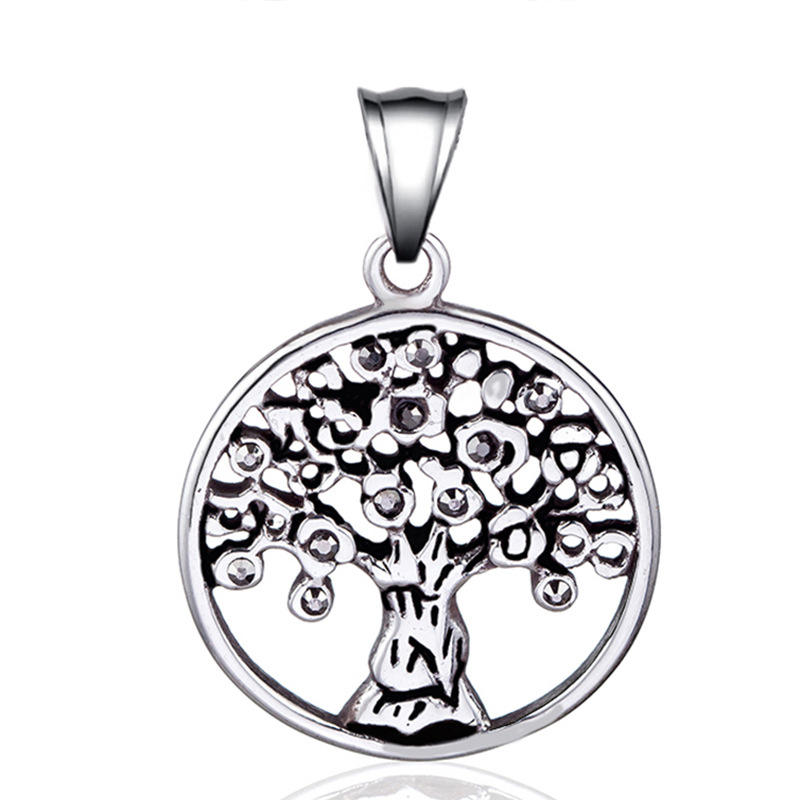 Stainless Steel Pendant Necklace Individual Character Adorn Article Necklace Auspicious Tree Pendant