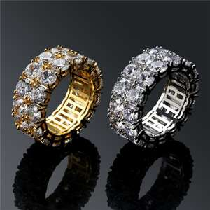 2 Row Iced Out Zircon Round AAA Cubic Zircon Ring For Men Women Hip Hop Jewelry