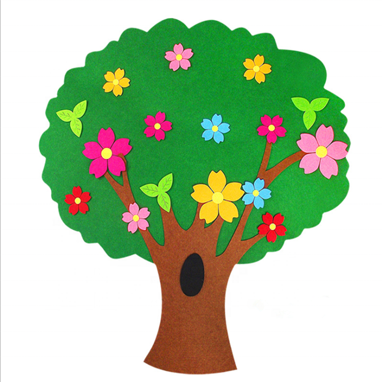 Eco diy felt wall cartoon tree for kids kindergarten children's room decoration