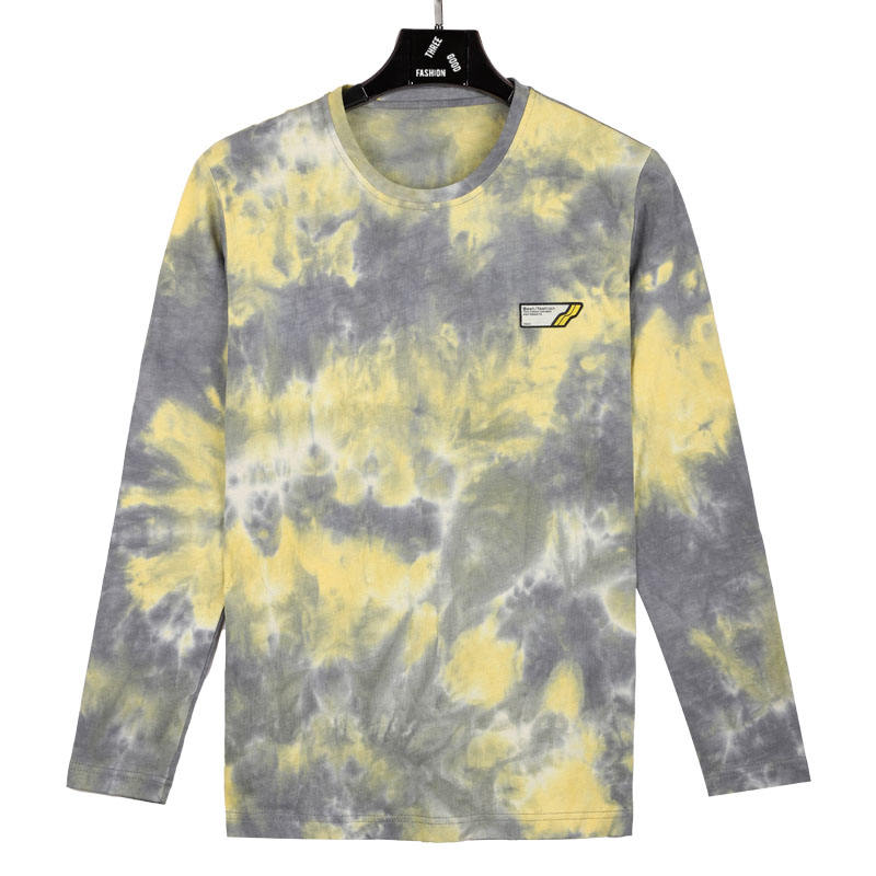 2020 New Trends Yellow Tie Dye O Neck Long Sleeve T Shirt With Embroidery