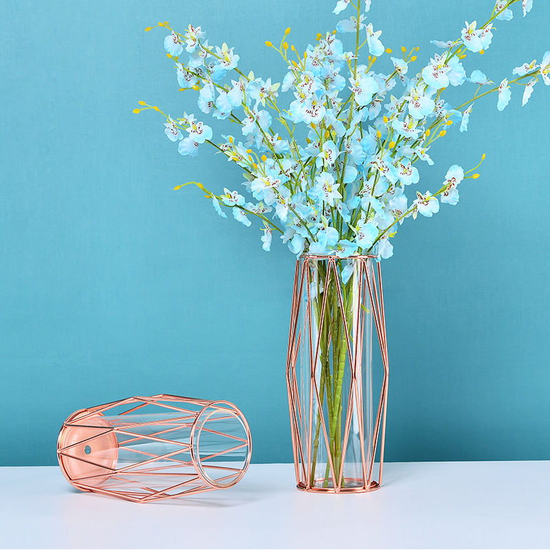 Flower Vases Small Nordic Plant Bud Modern Clear Cheap Decoration Rose Gold Wedding Metal Glass Flower Vases For Home Decor