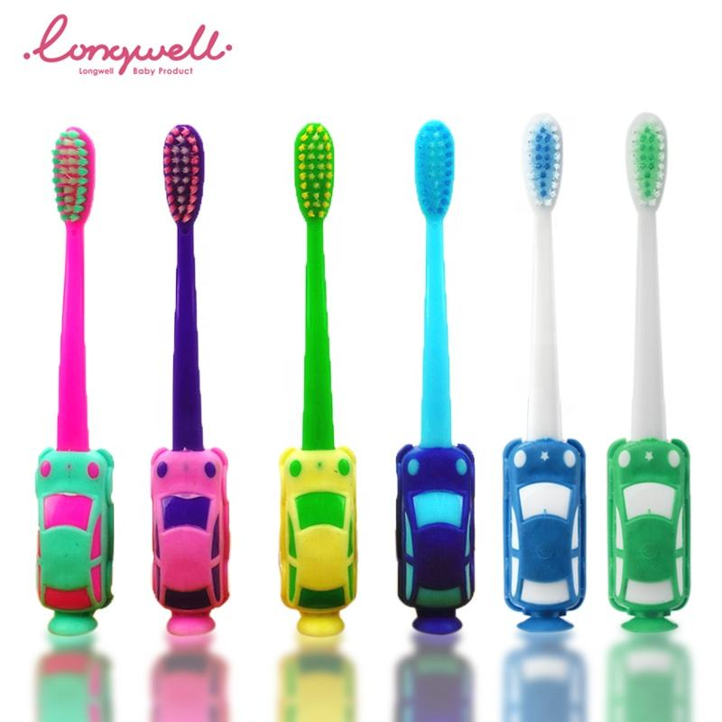 Ningbo Longwell ISO Custom Factory Kids Toothbrush Cartoon Car Toothbrush Test BPA Free Oral Hygiene Baby Toothbrush Training