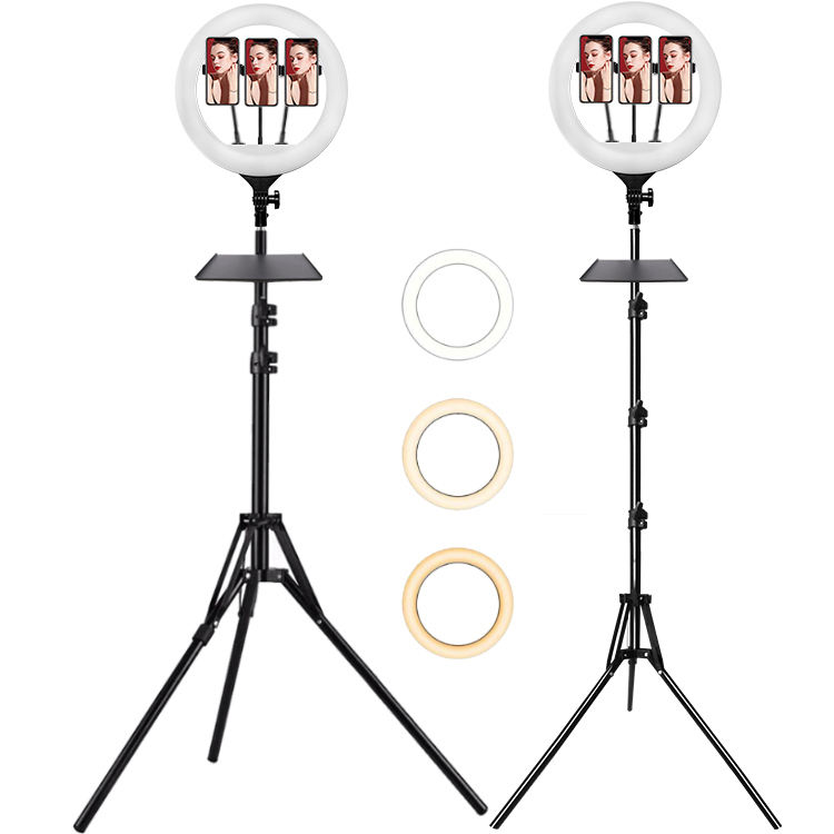 Customized Logo 14inch 35cm led camera ring light aros de luz led para fotos selfies with folding tripod stand for fl studio