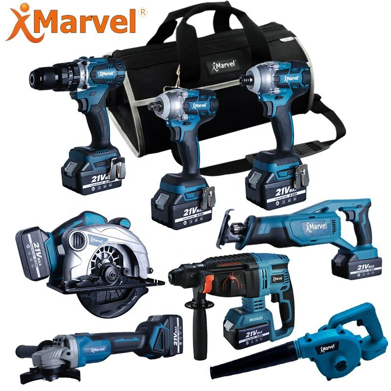 MARVEL 8 pcs 9 pcs 10 pcs in 1 bag Cordless impact drill screwdriver 18V 20V power tools combo kit