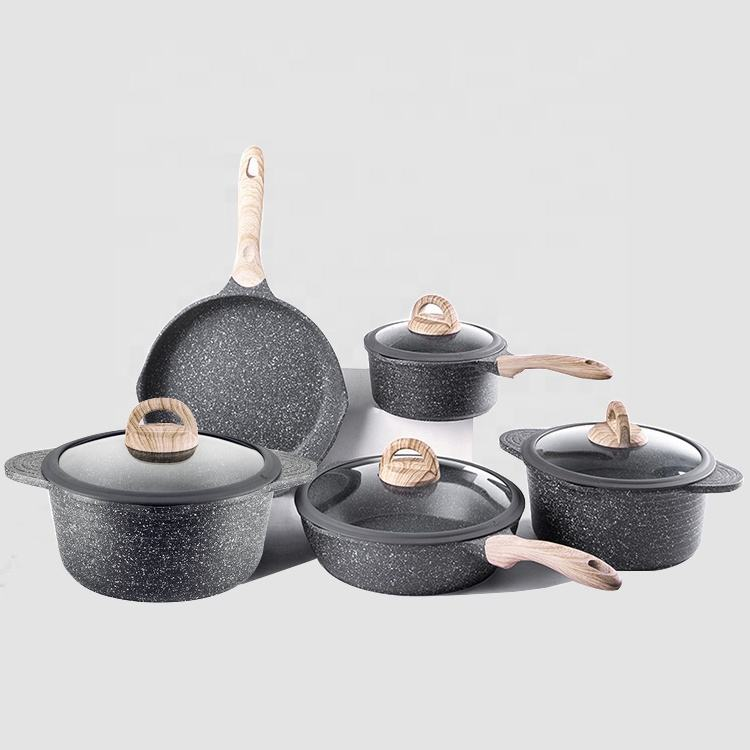 Eco-friendly Kitchen 9 pcs die cast aluminum granite coating non stick cookware cooking pots and pans set