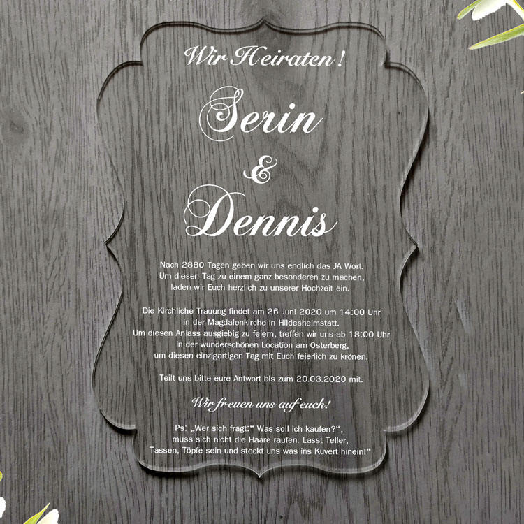 Cheap Clear Plastic Glass Embossing Acrylic Wedding Invitations Card for Opening Ceremony