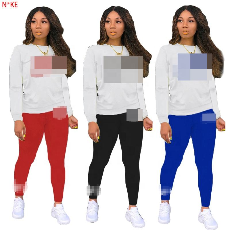 Autumn new styles women's outfits fashion printed tight ladies long sweats sets