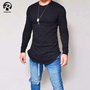 Wholesale o neck blank scoop bottom men long sleeve t shirt Custom Logo Plus size t-shirts
