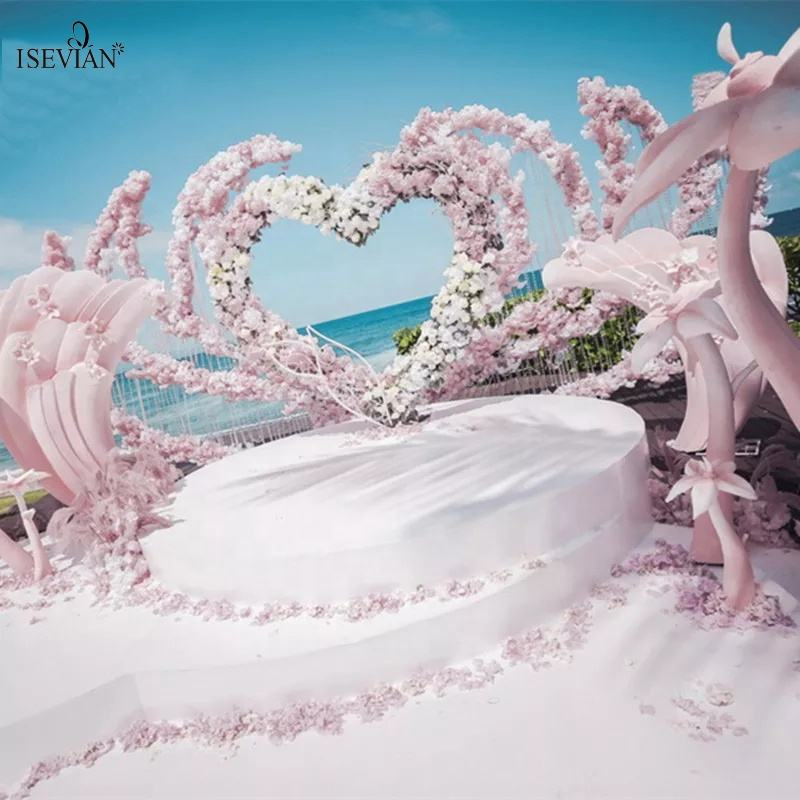 ISEVIAN Romantic Heart Wedding Arch and Wedding Decoration Arch Metal For New Design Arch Wedding