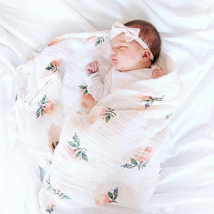 hot selling high quality newborn baby muslin blanket floral wraps swaddle