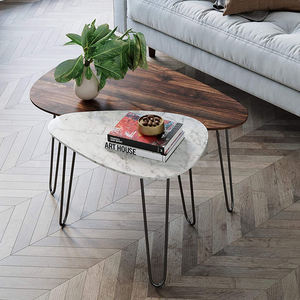Wood Folding Oval Tempered Glass with Glazed Marble Texture & Dark Gray Finish Top Coffee Table
