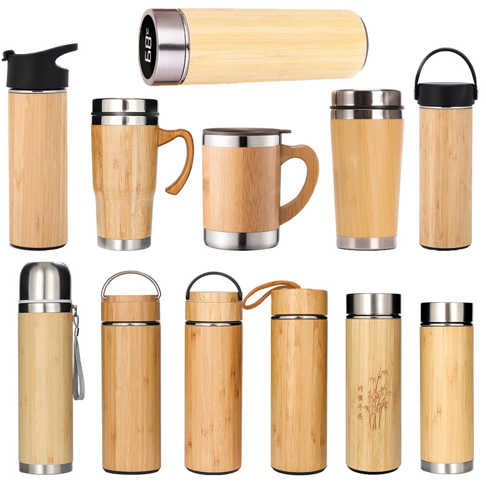 Thermos Insulated Eco Friendly BPA Free Stainless Steel Custom Bamboo Water Bottle Wood Travel Flask Coffee Tumbler Mugs