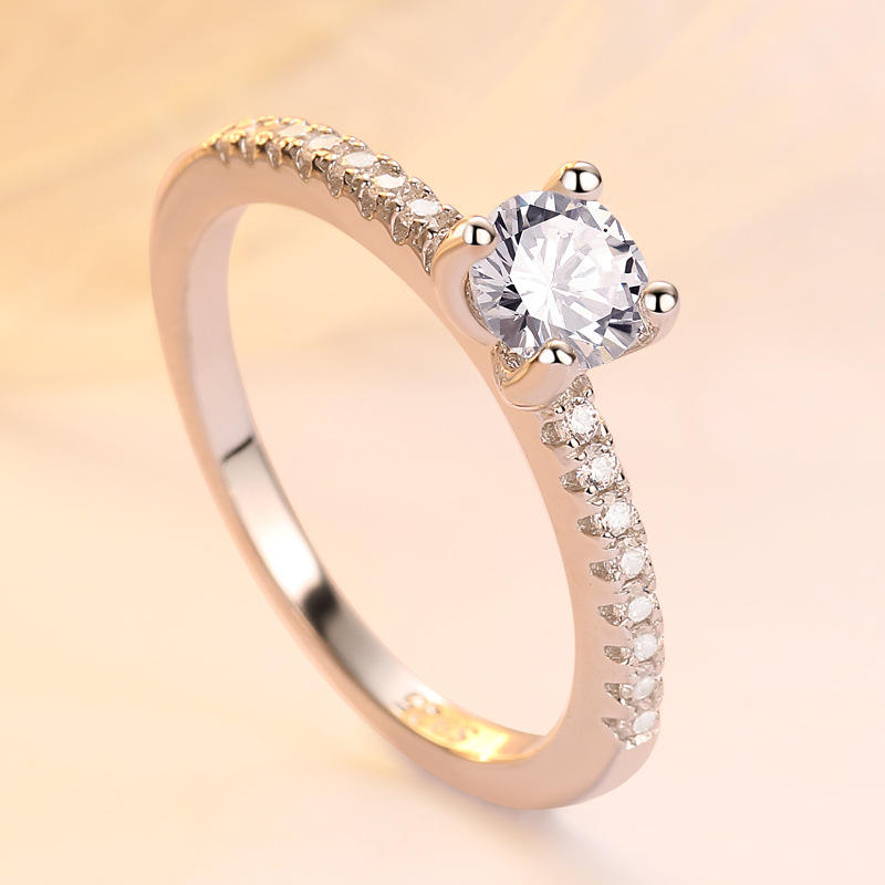 Cheap Price Pure Silver Wedding Band Design White Gold Diamond Ring For Women