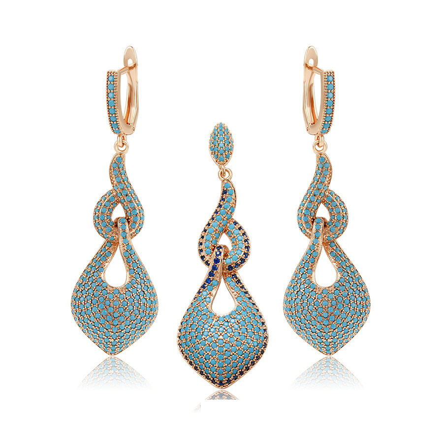 65624 Xuping Baru Fashion Perhiasan Set 18 K Emas Turquoise Perhiasan Liontin dan Anting-Anting Set