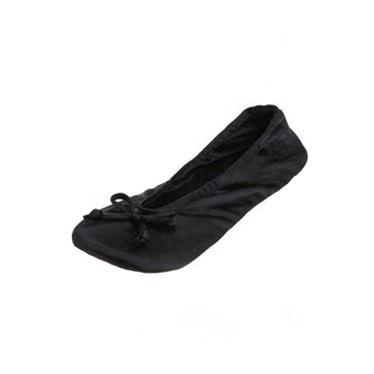 black promotional wholesale women's foldable Satin Ballerina slipper