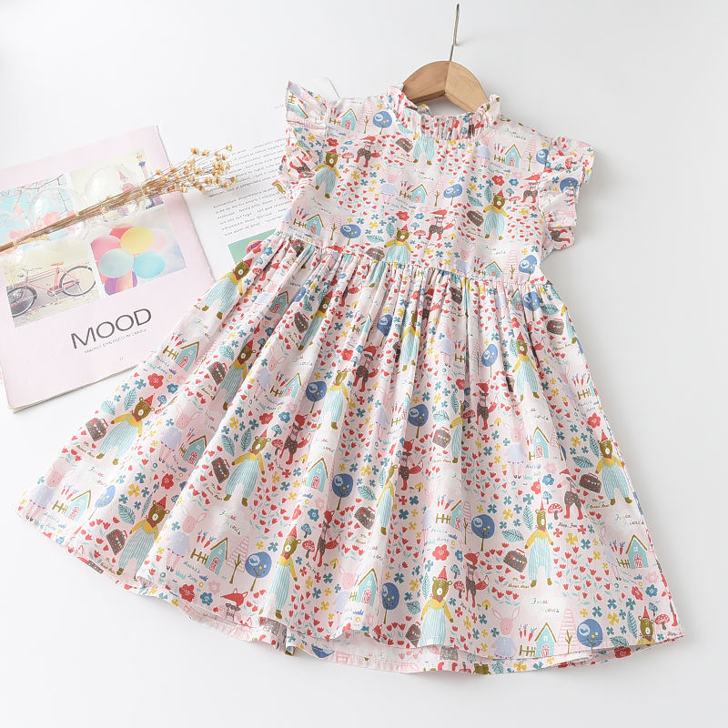 2021 New Summer Style Kids Girl Dresses Fly-Sleeve Vestidos A-Line Flower Pattern Cotton Clothes Baby Girl Princess Dress