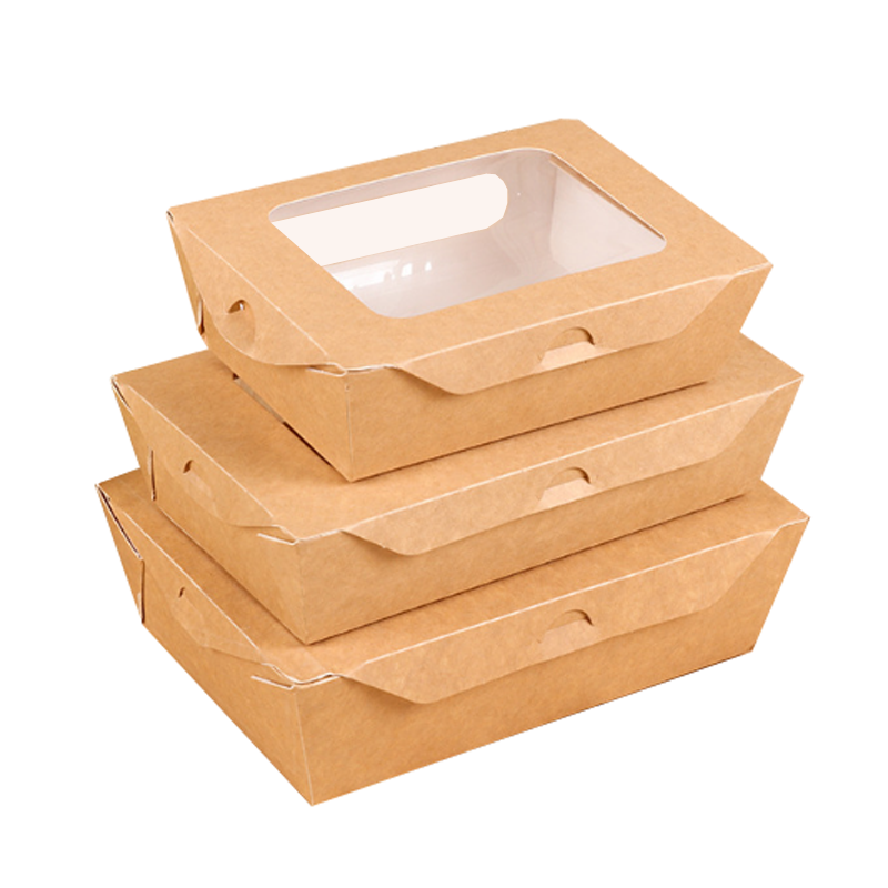 ZL Wholesale one set 400pcs Biodegradable Sushi fruit vegetable Salad Takeaway Food Packaging Kraft Paper Box With Two Windows