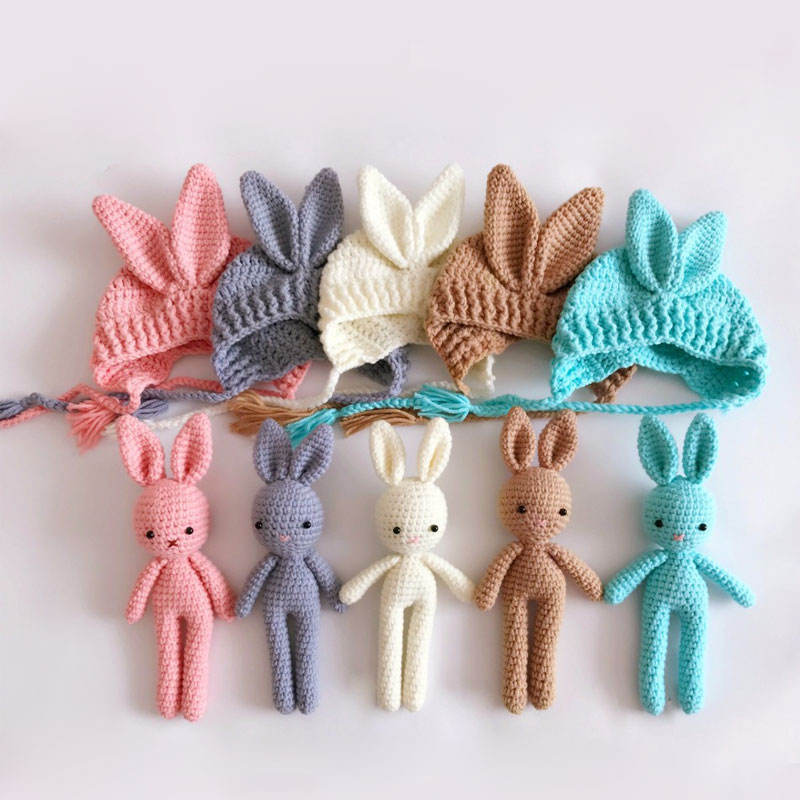 Newborn Gift Cute Animals Baby hats and doll sets newborn photo props knit Baby Crochet Photography
