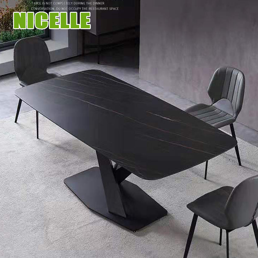 Luxury Style Marble printing Modern Dining Room Furniture Ceramics Dining Table porcelain dining Set