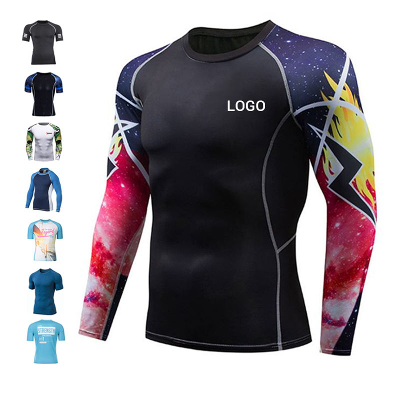 UPF 50 Sublimation Printed Custom Logo Rash Guard Mma Bjj Surf Rashguard Long Sleeve Manufacturers Oem Rash+Guard