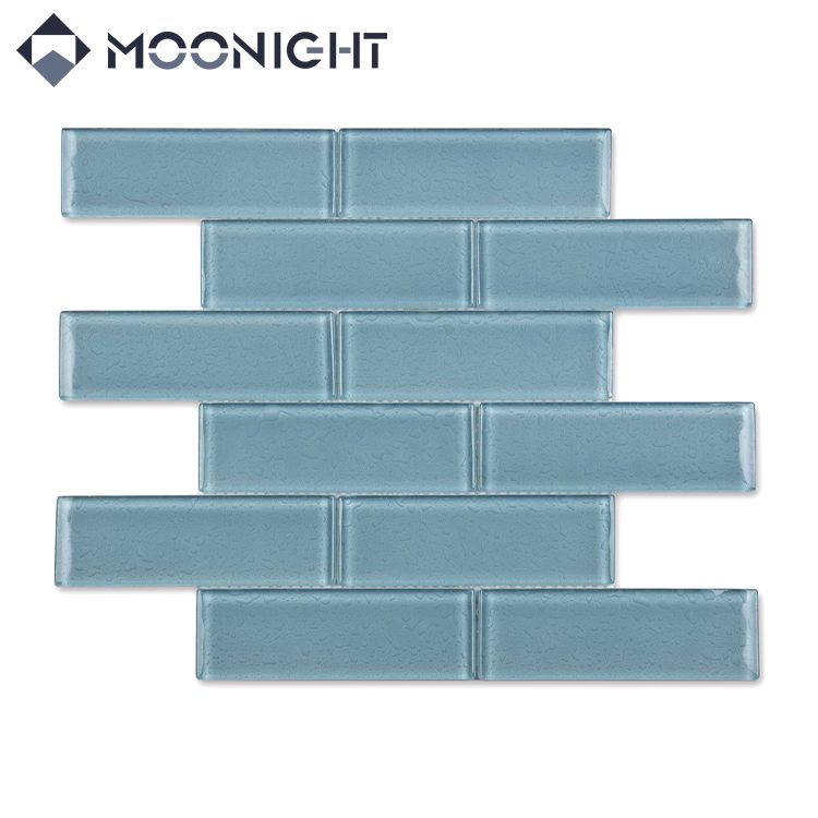 Brick Tile Moonight Glass Online Technical Support Irregular 1 YEAR Modern Hotel Mosaic Pool Blue Lake Blue 350*295mm MSAS8-028