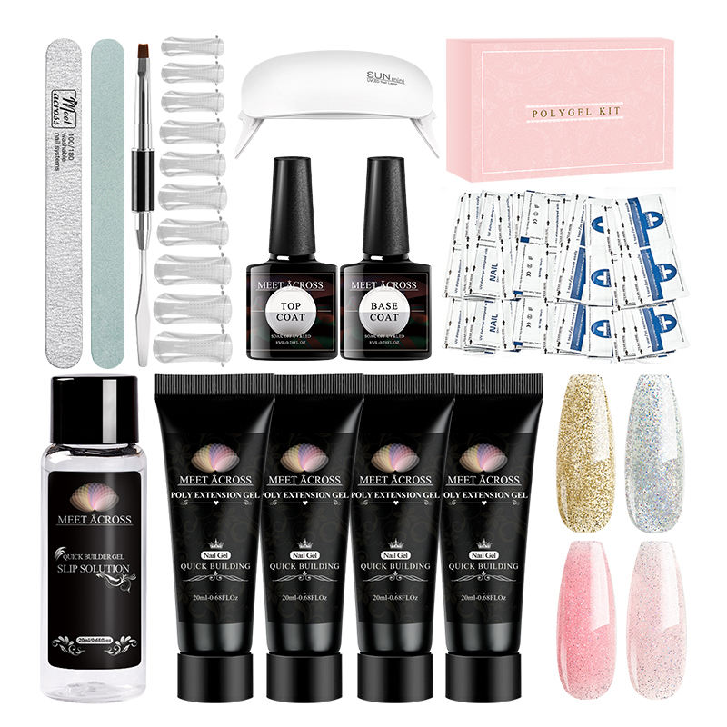 Produkte 2020 Neue Poly gel Kit Licht Poly Gel Private Label Glitter Acryl Nagel Set